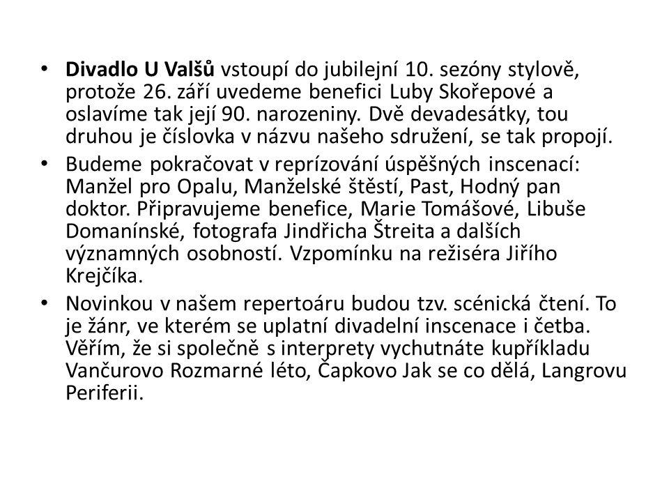 Divadlo U Valšů vstoupí do jubilejní 10. sezóny stylově, protože 26.