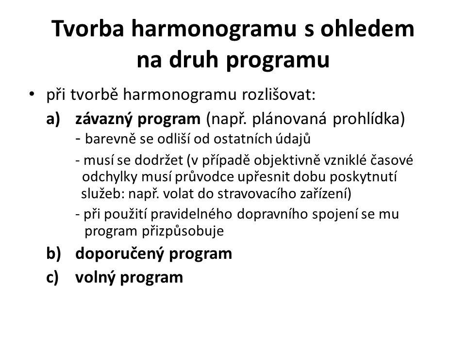 Tvorba harmonogramu s ohledem na druh programu při tvorbě harmonogramu rozlišovat: a)závazný program (např.