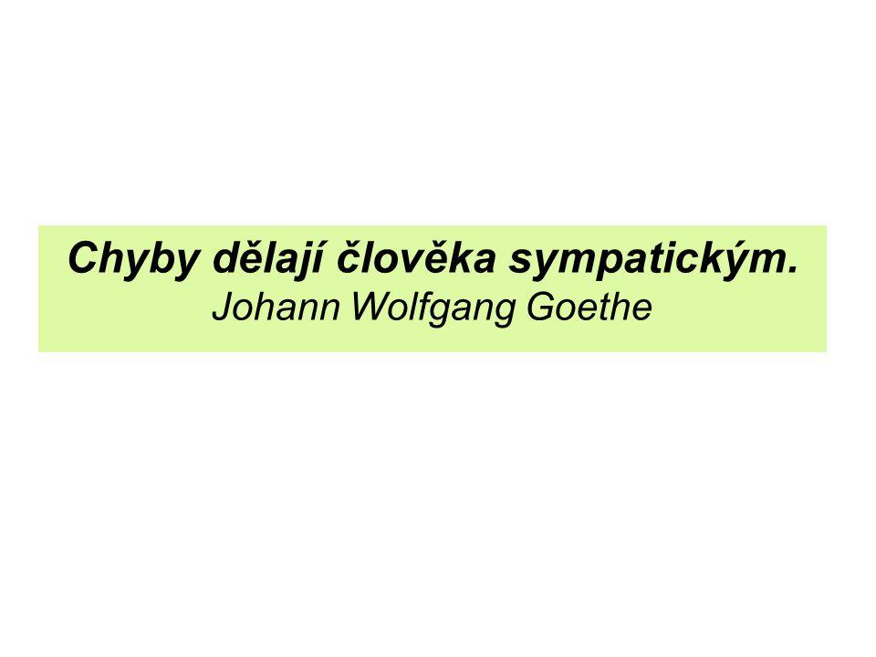 Chyby dělají člověka sympatickým. Johann Wolfgang Goethe
