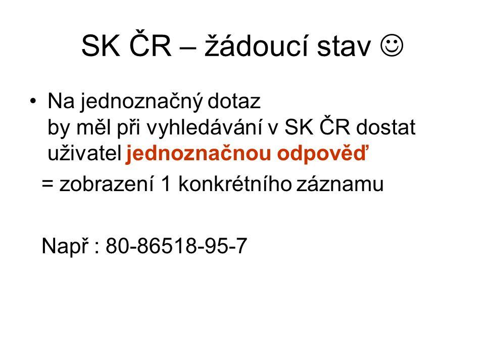 SK ČR – žádoucí stav Na jednoznačný dotaz by měl při vyhledávání v SK ČR dostat uživatel jednoznačnou odpověď = zobrazení 1 konkrétního záznamu Např : 80-86518-95-7