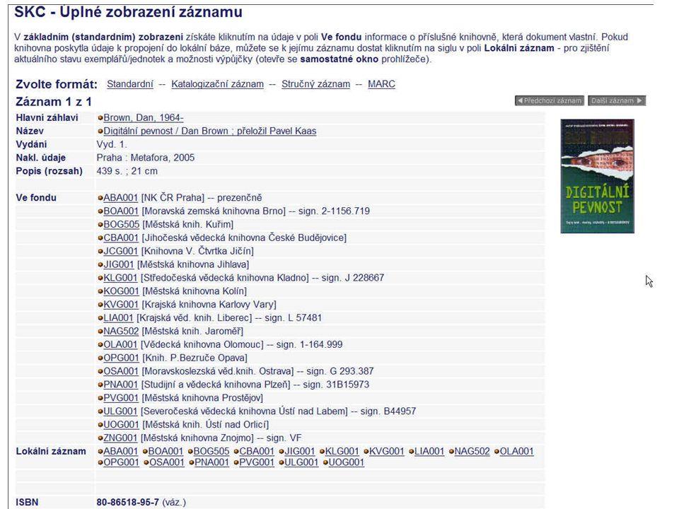 Příklad 11 Překlep v názvu může způsobit duplicitu nebo nevyhledatelnost díla 001 KN3164000000147446 003 CZ-PrSKC 005 20080211110818.0 008 960122s1992----xxk----------u------eng-- 020 |a 0-521-440866 : |c 1425.00 Kč 24503 |a TheCambridge Guide to Literature in Englis h / |c předmluva Doris Lessing, připravil Ian Ousby údaj o odp.
