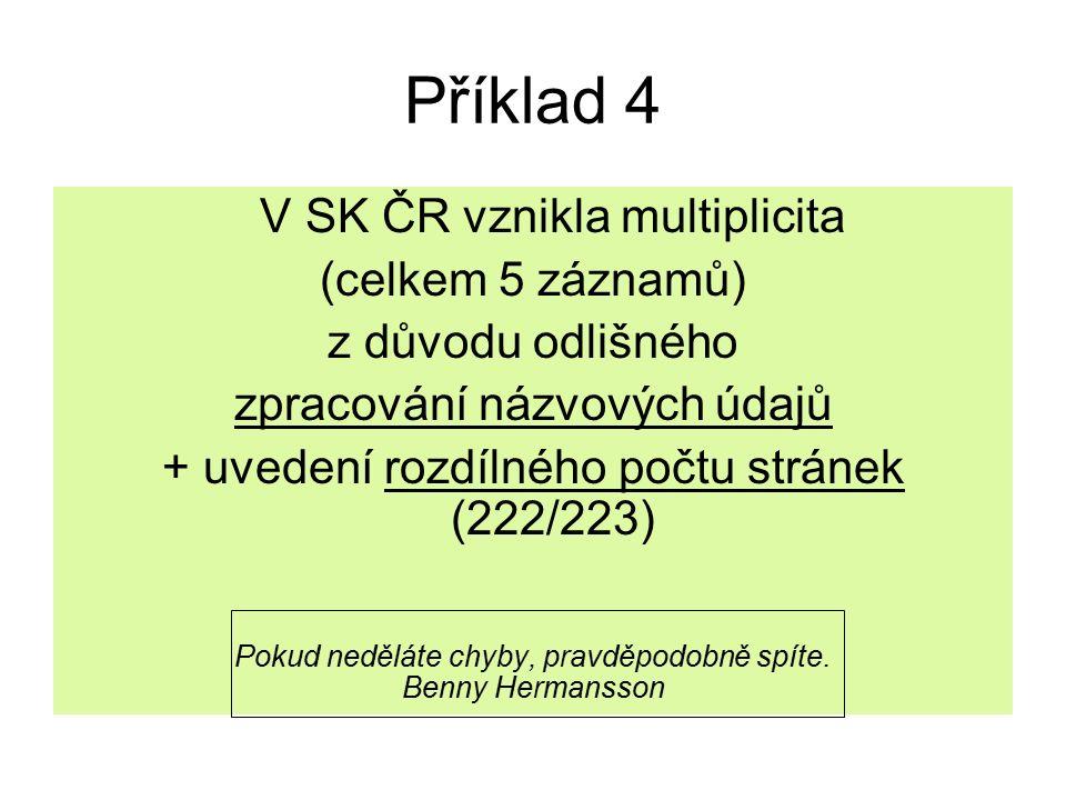 Příklad 4 V SK ČR vznikla multiplicita (celkem 5 záznamů) z důvodu odlišného zpracování názvových údajů + uvedení rozdílného počtu stránek (222/223) Pokud neděláte chyby, pravděpodobně spíte.