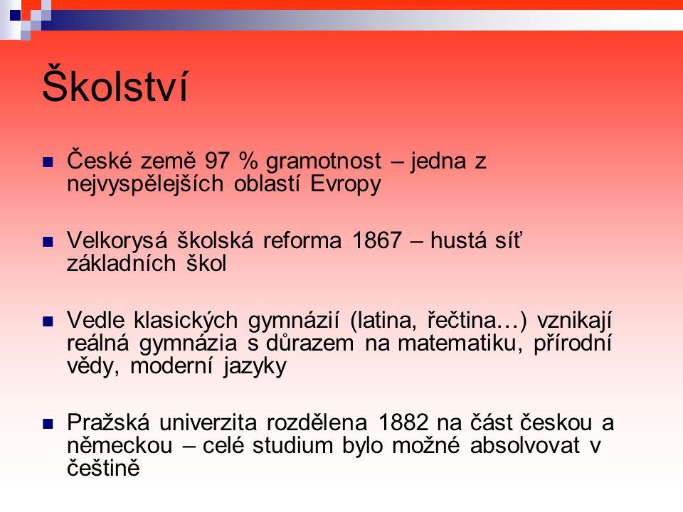 Školství České země 97 % gramotnost – jedna z nejvyspělejších oblastí Evropy Velkorysá školská reforma 1867 – hustá síť základních škol Vedle klasických gymnázií (latina, řečtina…) vznikají reálná gymnázia s důrazem na matematiku, přírodní vědy, moderní jazyky Pražská univerzita rozdělena 1882 na část českou a německou – celé studium bylo možné absolvovat v češtině