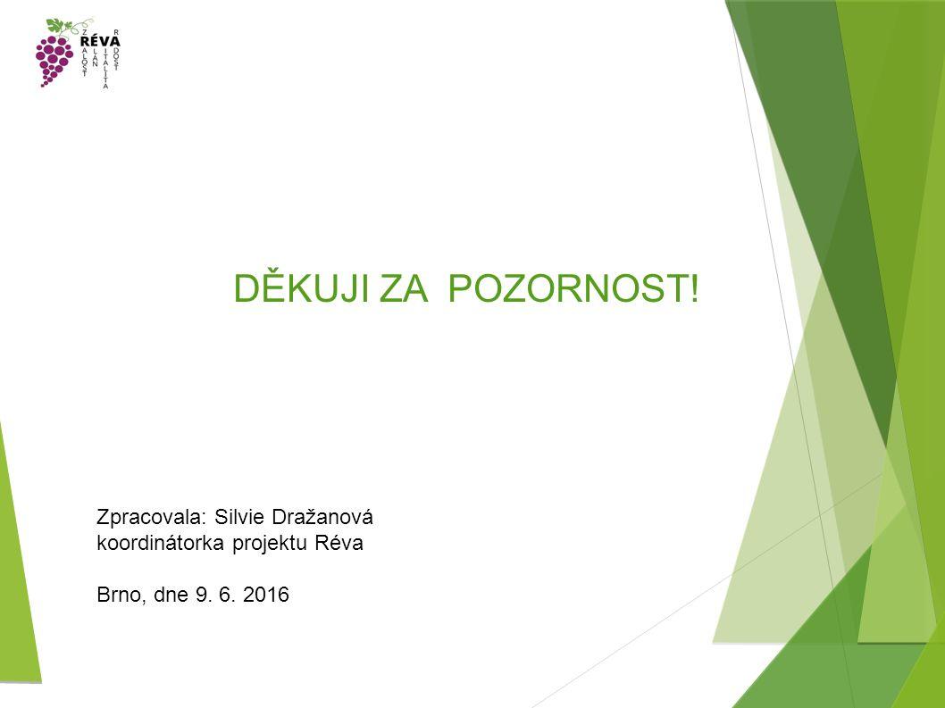 DĚKUJI ZA POZORNOST! Zpracovala: Silvie Dražanová koordinátorka projektu Réva Brno, dne 9. 6. 2016