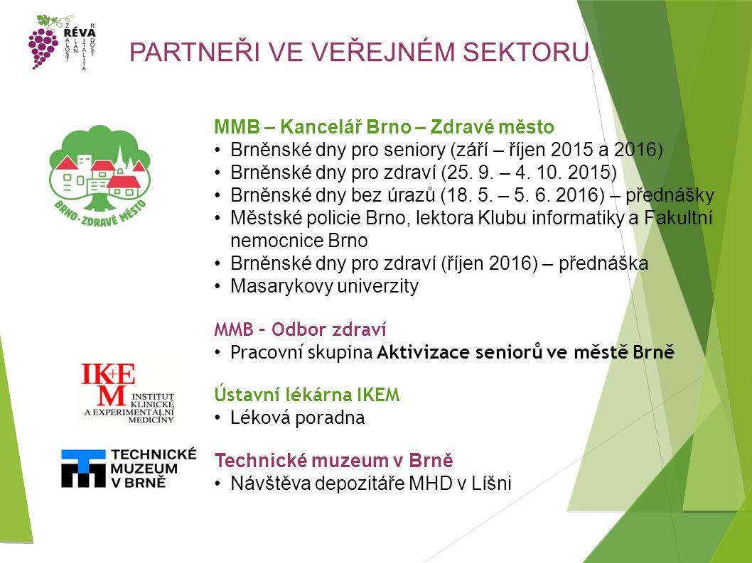 PARTNEŘI VE VEŘEJNÉM SEKTORU MMB – Kancelář Brno – Zdravé město Brněnské dny pro seniory (září – říjen 2015 a 2016) Brněnské dny pro zdraví (25.