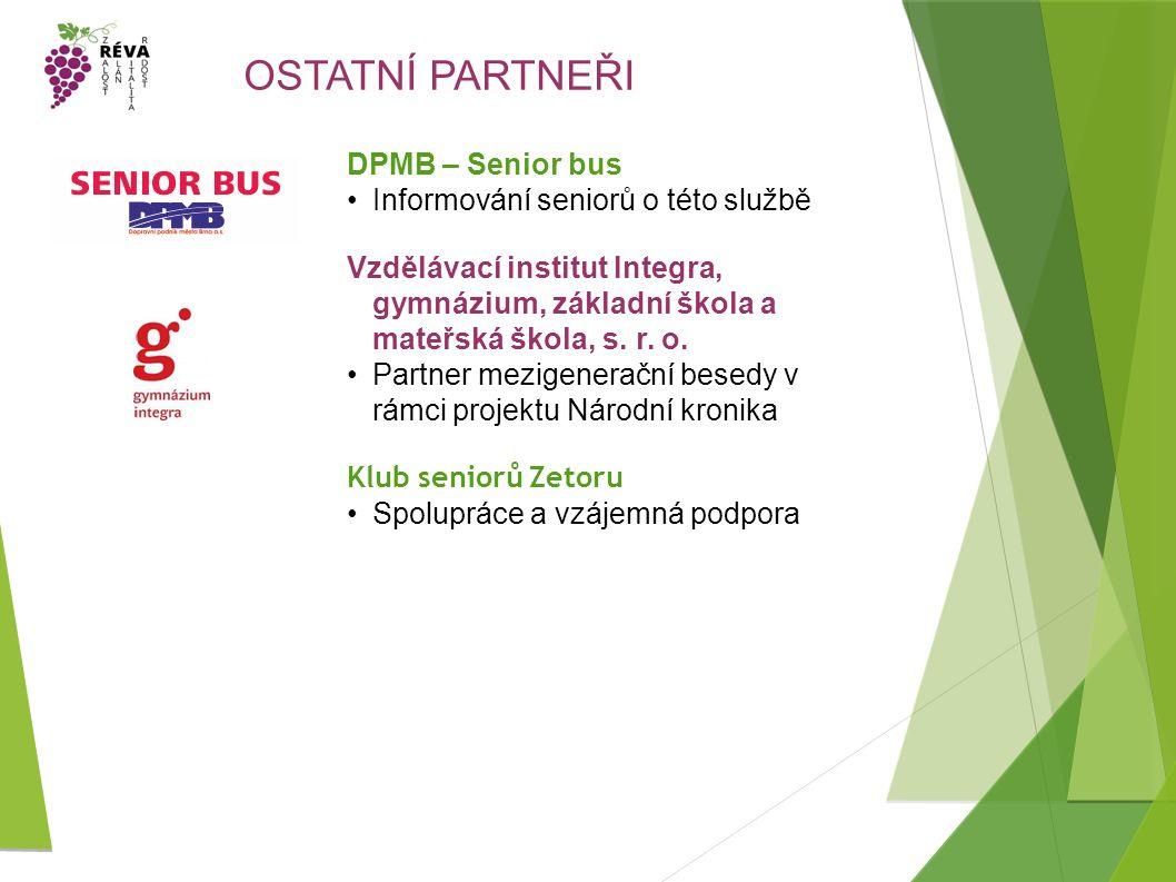OSTATNÍ PARTNEŘI DPMB – Senior bus Informování seniorů o této službě Vzdělávací institut Integra, gymnázium, základní škola a mateřská škola, s.