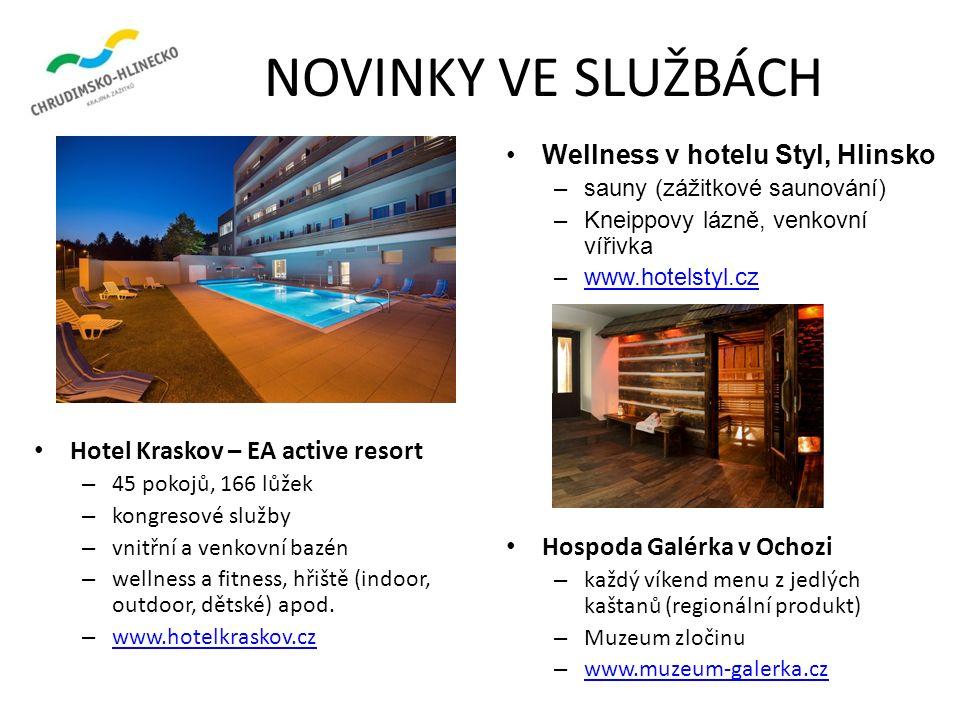 NOVINKY VE SLUŽBÁCH Hotel Kraskov – EA active resort – 45 pokojů, 166 lůžek – kongresové služby – vnitřní a venkovní bazén – wellness a fitness, hřiště (indoor, outdoor, dětské) apod.