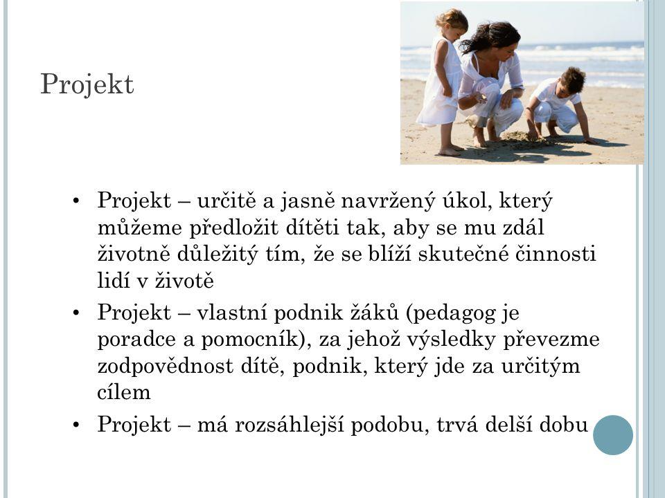 Projekt – určitě a jasně navržený úkol, který můžeme předložit dítěti tak, aby se mu zdál životně důležitý tím, že se blíží skutečné činnosti lidí v životě Projekt – vlastní podnik žáků (pedagog je poradce a pomocník), za jehož výsledky převezme zodpovědnost dítě, podnik, který jde za určitým cílem Projekt – má rozsáhlejší podobu, trvá delší dobu Projekt