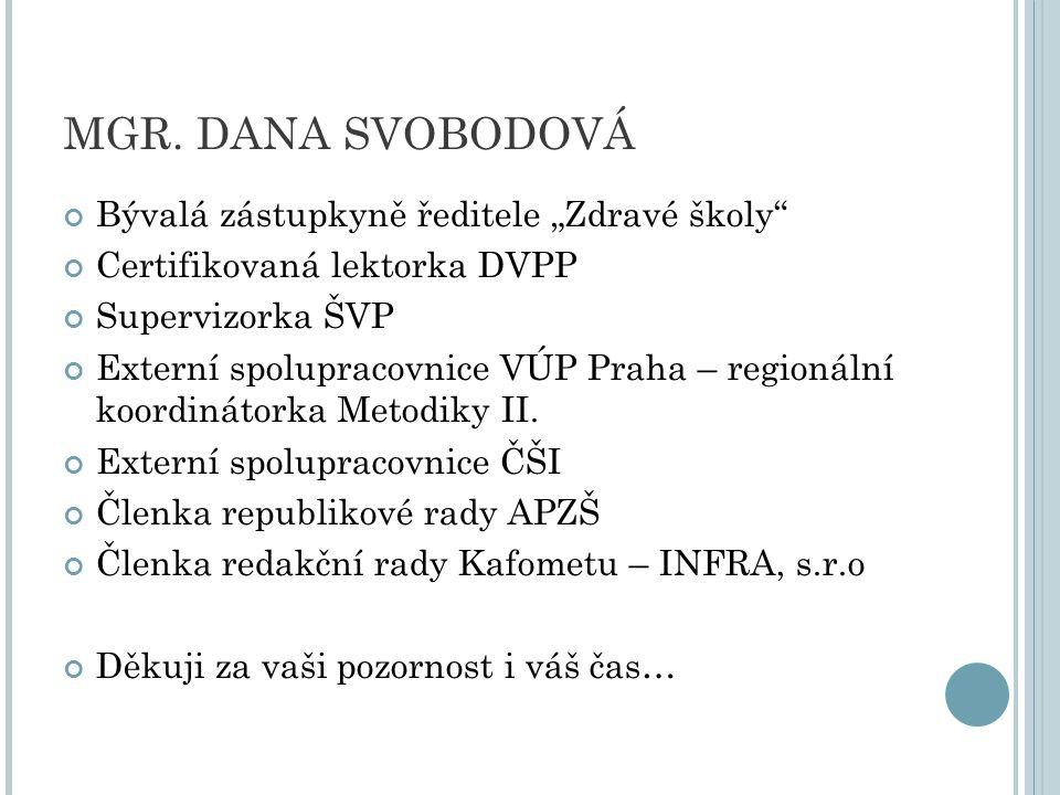 """MGR. DANA SVOBODOVÁ Bývalá zástupkyně ředitele """"Zdravé školy"""" Certifikovaná lektorka DVPP Supervizorka ŠVP Externí spolupracovnice VÚP Praha – regioná"""