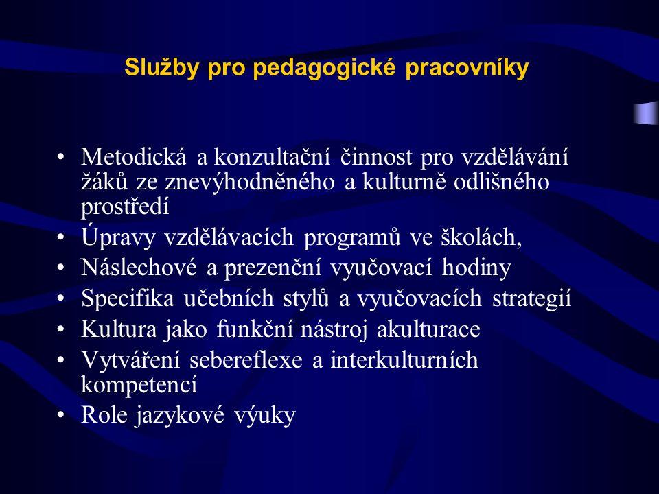 Služby pro pedagogické pracovníky Metodická a konzultační činnost pro vzdělávání žáků ze znevýhodněného a kulturně odlišného prostředí Úpravy vzděláva