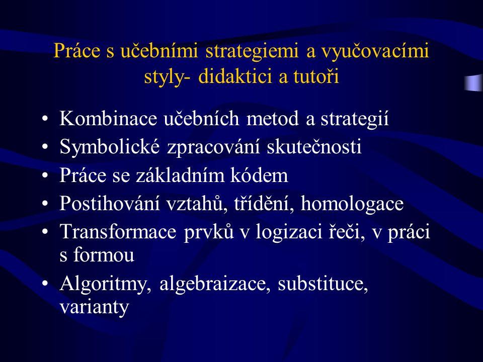 Práce s učebními strategiemi a vyučovacími styly- didaktici a tutoři Kombinace učebních metod a strategií Symbolické zpracování skutečnosti Práce se základním kódem Postihování vztahů, třídění, homologace Transformace prvků v logizaci řeči, v práci s formou Algoritmy, algebraizace, substituce, varianty