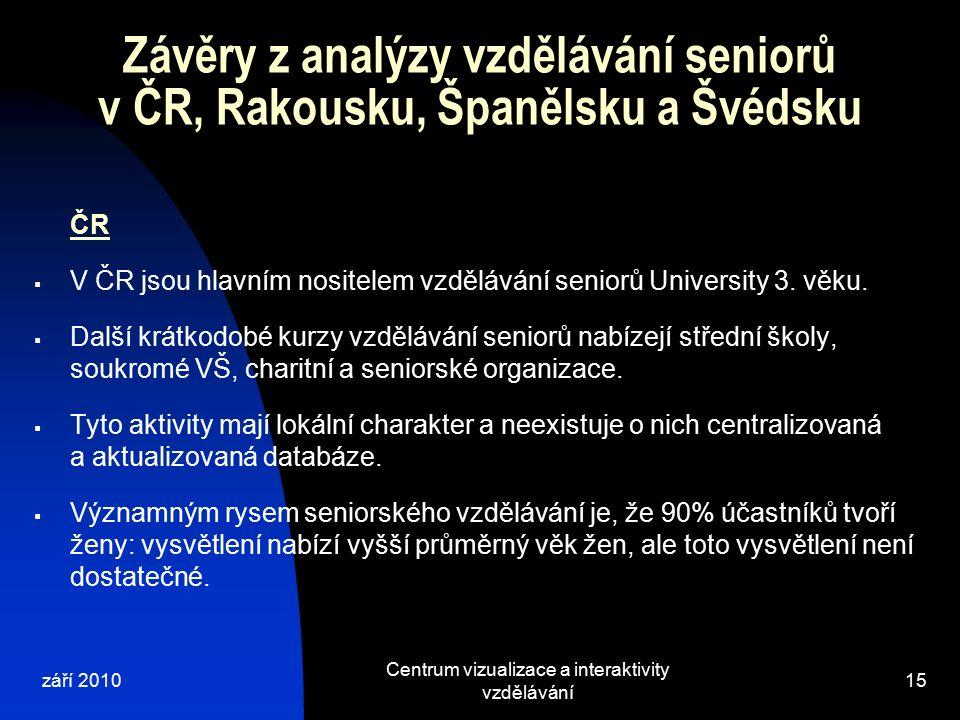 září 2010 Centrum vizualizace a interaktivity vzdělávání 15 Závěry z analýzy vzdělávání seniorů v ČR, Rakousku, Španělsku a Švédsku ČR  V ČR jsou hlavním nositelem vzdělávání seniorů University 3.