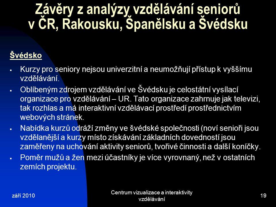 září 2010 Centrum vizualizace a interaktivity vzdělávání 19 Závěry z analýzy vzdělávání seniorů v ČR, Rakousku, Španělsku a Švédsku Švédsko  Kurzy pro seniory nejsou univerzitní a neumožňují přístup k vyššímu vzdělávání.