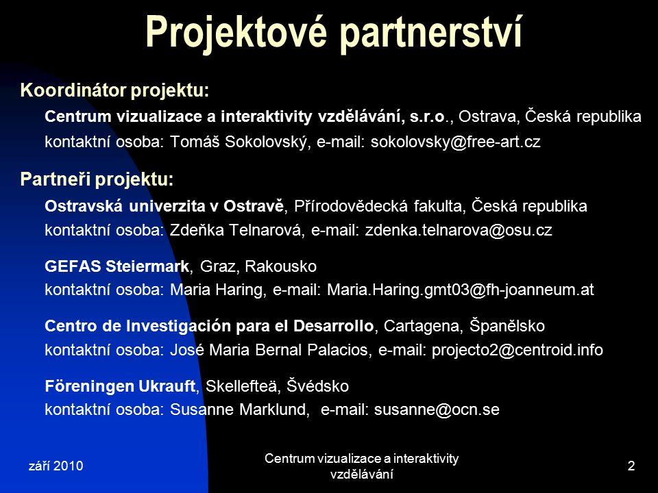 Koordinátor projektu: Centrum vizualizace a interaktivity vzdělávání, s.r.o., Ostrava, Česká republika kontaktní osoba: Tomáš Sokolovský, e-mail: soko