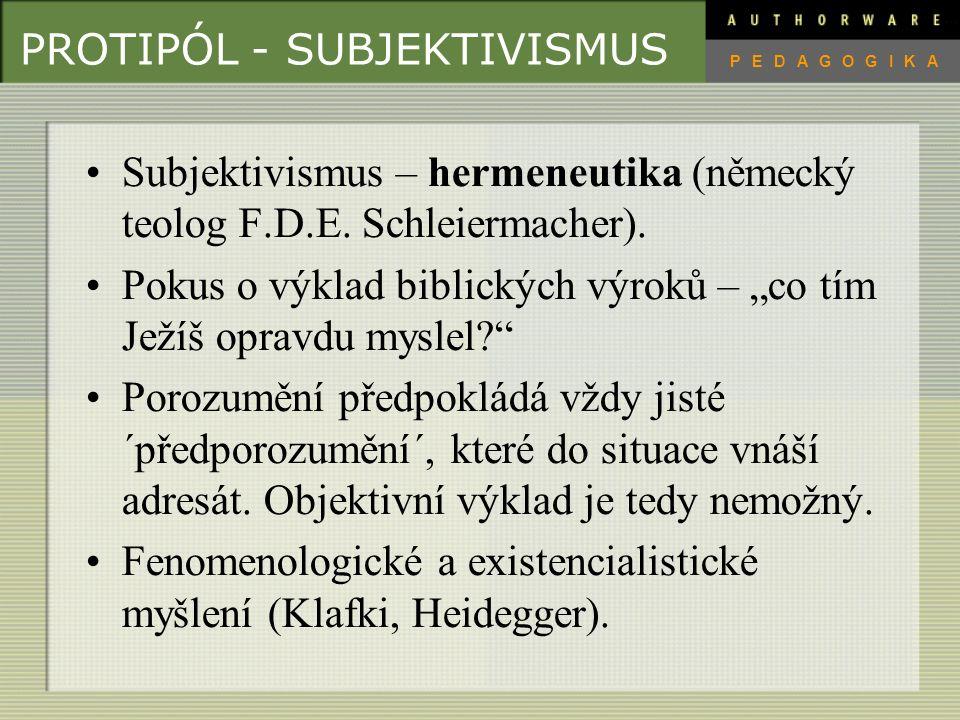 PROTIPÓL - OBJEKTIVISMUS Objektivismus – pozitivismus (Bacon, Galielo, Descartes).