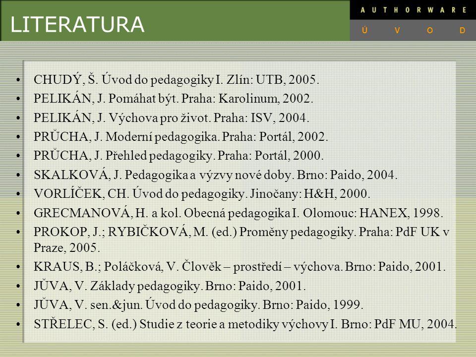 LITERATURA CHUDÝ, Š.Úvod do pedagogiky I. Zlín: UTB, 2005.