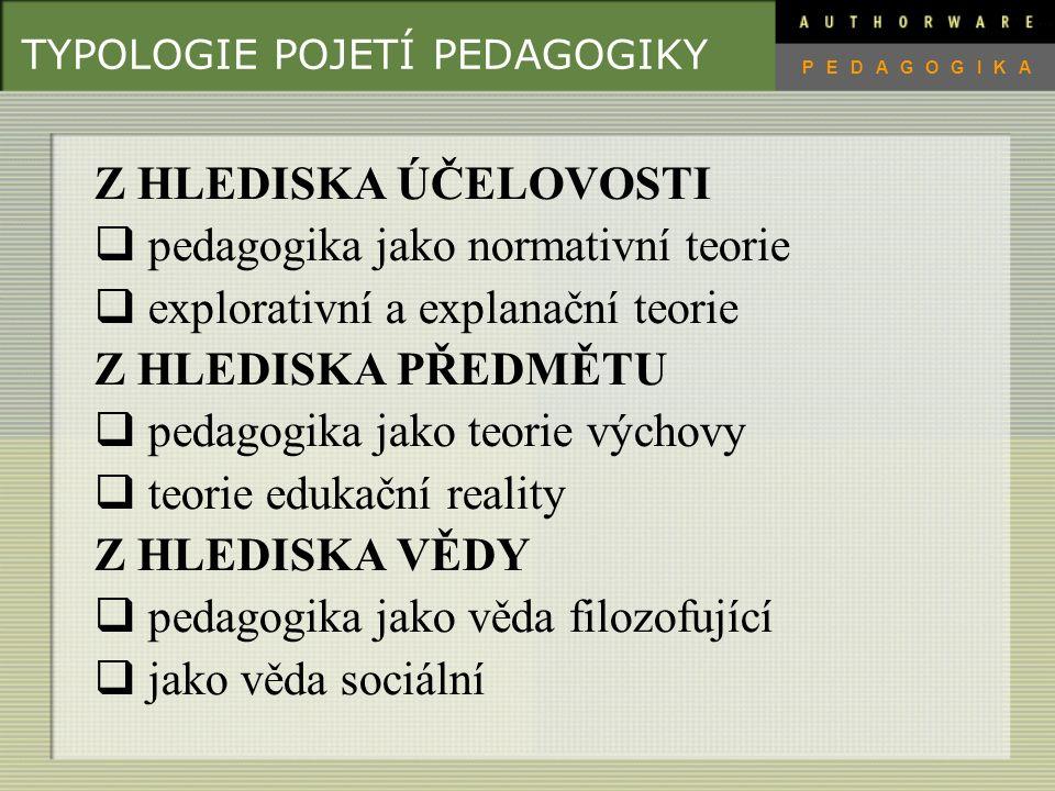 TYPOLOGIE POJETÍ PEDAGOGIKY Z HLEDISKA ÚČELOVOSTI  pedagogika jako normativní teorie  explorativní a explanační teorie Z HLEDISKA PŘEDMĚTU  pedagogika jako teorie výchovy  teorie edukační reality Z HLEDISKA VĚDY  pedagogika jako věda filozofující  jako věda sociální PEDAGOGIKA