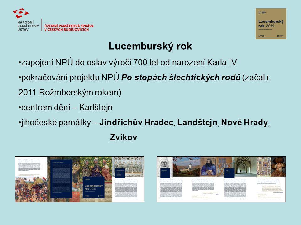 Lucemburský rok zapojení NPÚ do oslav výročí 700 let od narození Karla IV. pokračování projektu NPÚ Po stopách šlechtických rodů (začal r. 2011 Rožmbe