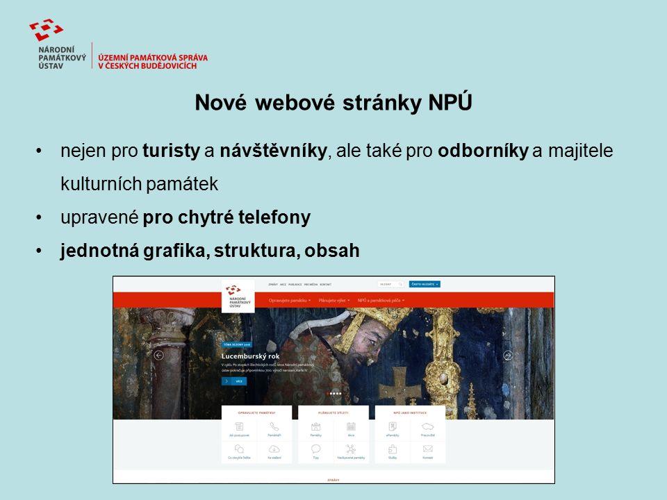 Nové webové stránky NPÚ nejen pro turisty a návštěvníky, ale také pro odborníky a majitele kulturních památek upravené pro chytré telefony jednotná grafika, struktura, obsah