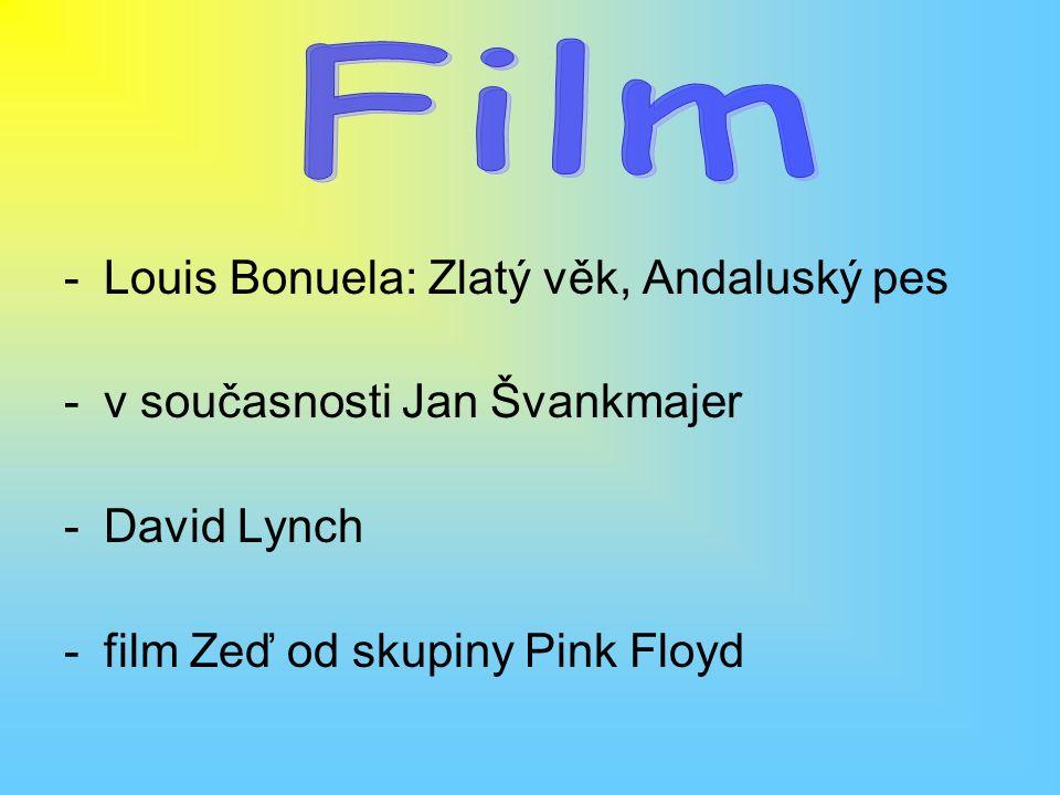 -Louis Bonuela: Zlatý věk, Andaluský pes -v současnosti Jan Švankmajer -David Lynch -film Zeď od skupiny Pink Floyd