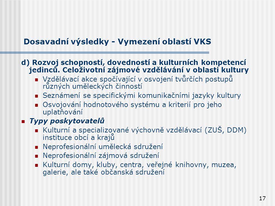 17 Dosavadní výsledky - Vymezení oblastí VKS d) Rozvoj schopností, dovedností a kulturních kompetencí jedinců.