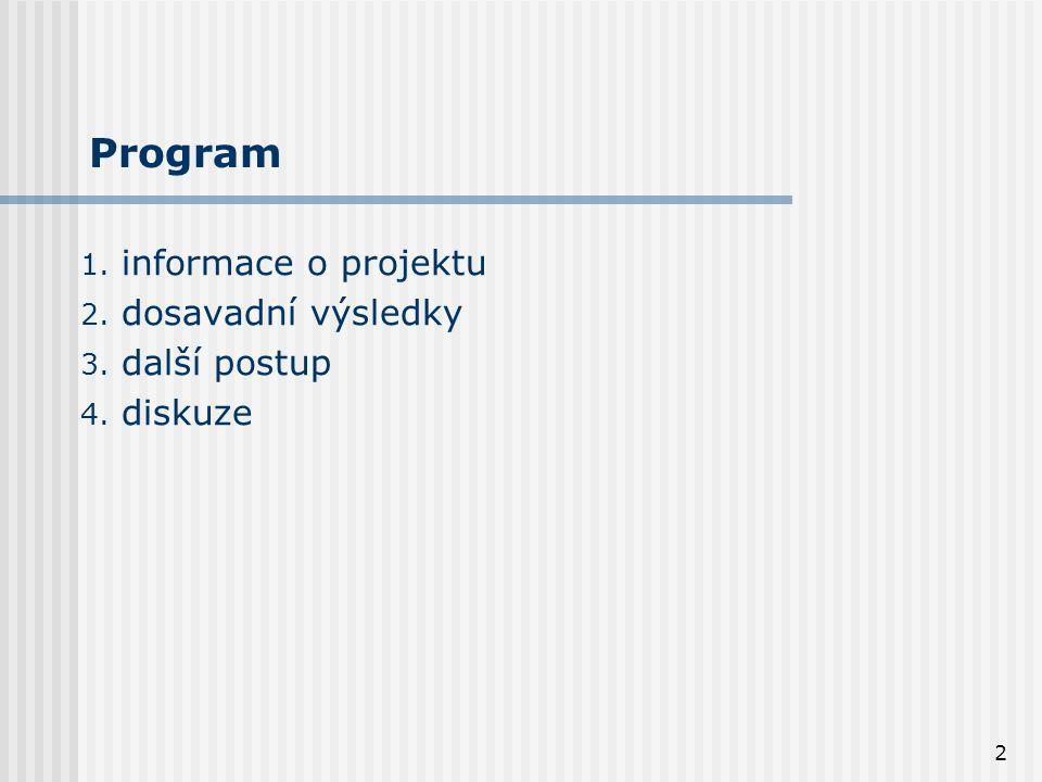 2 Program 1. informace o projektu 2. dosavadní výsledky 3. další postup 4. diskuze
