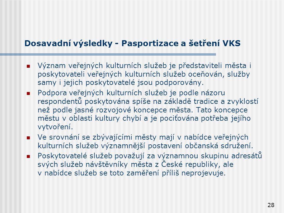 28 Dosavadní výsledky - Pasportizace a šetření VKS Význam veřejných kulturních služeb je představiteli města i poskytovateli veřejných kulturních služeb oceňován, služby samy i jejich poskytovatelé jsou podporovány.