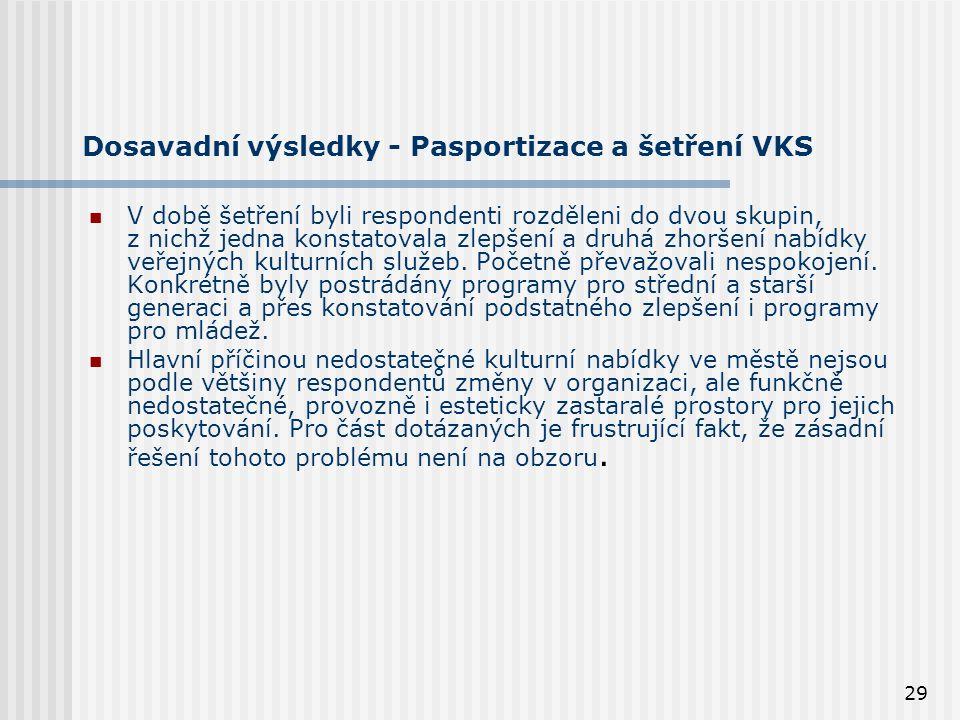29 Dosavadní výsledky - Pasportizace a šetření VKS V době šetření byli respondenti rozděleni do dvou skupin, z nichž jedna konstatovala zlepšení a druhá zhoršení nabídky veřejných kulturních služeb.