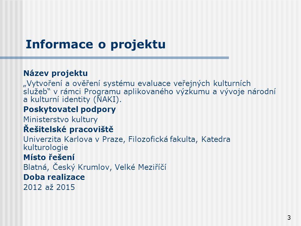 """3 Informace o projektu Název projektu """"Vytvoření a ověření systému evaluace veřejných kulturních služeb v rámci Programu aplikovaného výzkumu a vývoje národní a kulturní identity (NAKI)."""