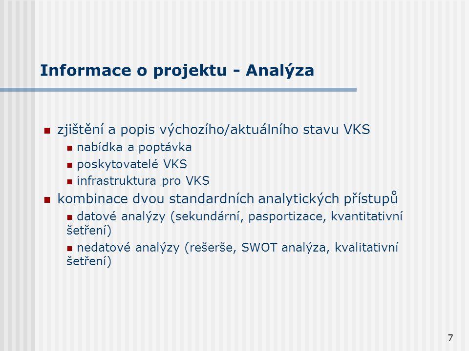 7 Informace o projektu - Analýza zjištění a popis výchozího/aktuálního stavu VKS nabídka a poptávka poskytovatelé VKS infrastruktura pro VKS kombinace dvou standardních analytických přístupů datové analýzy (sekundární, pasportizace, kvantitativní šetření) nedatové analýzy (rešerše, SWOT analýza, kvalitativní šetření)