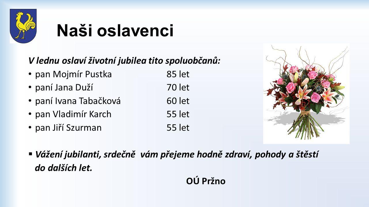 Naši oslavenci V lednu oslaví životní jubilea tito spoluobčanů: pan Mojmír Pustka85 let paní Jana Duží70 let paní Ivana Tabačková 60 let pan Vladimír