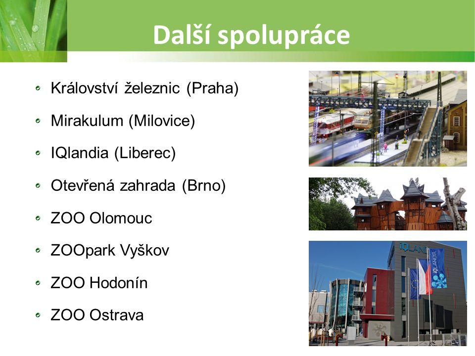 Další spolupráce Království železnic (Praha) Mirakulum (Milovice) IQlandia (Liberec) Otevřená zahrada (Brno) ZOO Olomouc ZOOpark Vyškov ZOO Hodonín ZO