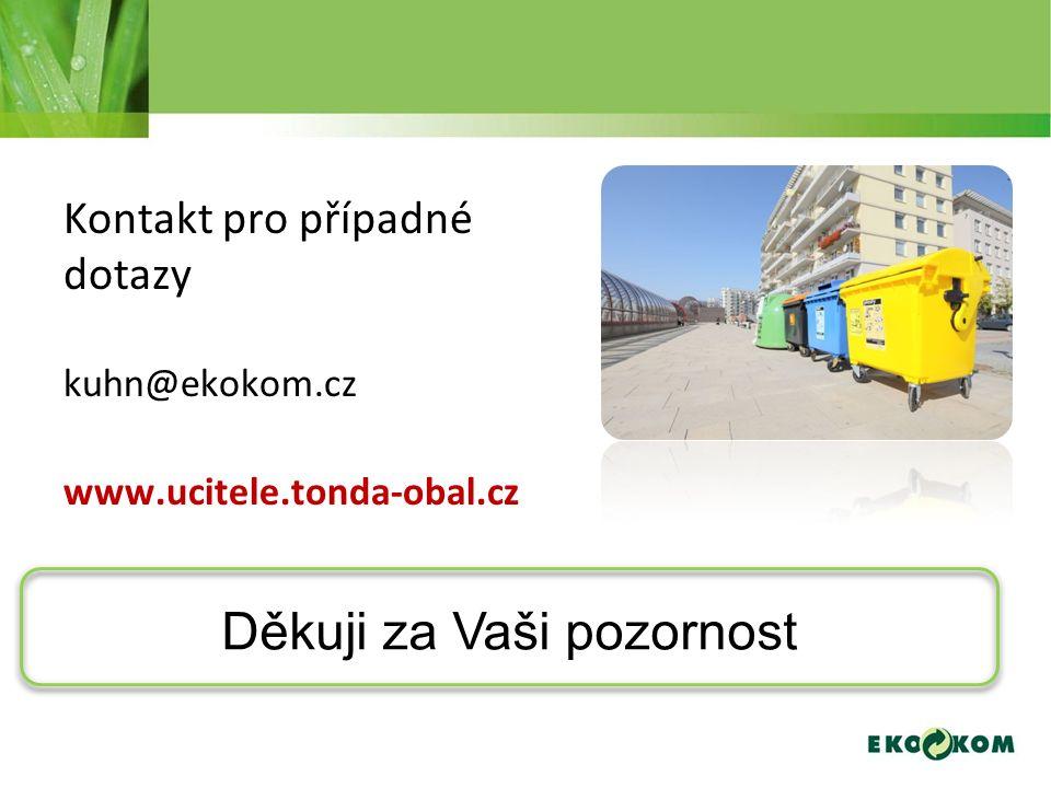 Kontakt pro případné dotazy kuhn@ekokom.cz www.ucitele.tonda-obal.cz Děkuji za Vaši pozornost