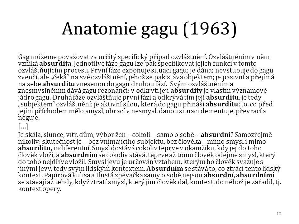 Anatomie gagu (1963) Gag můžeme považovat za určitý specifický případ ozvláštnění. Ozvláštněním v něm vzniká absurdita. Jednotlivé fáze gagu lze pak s