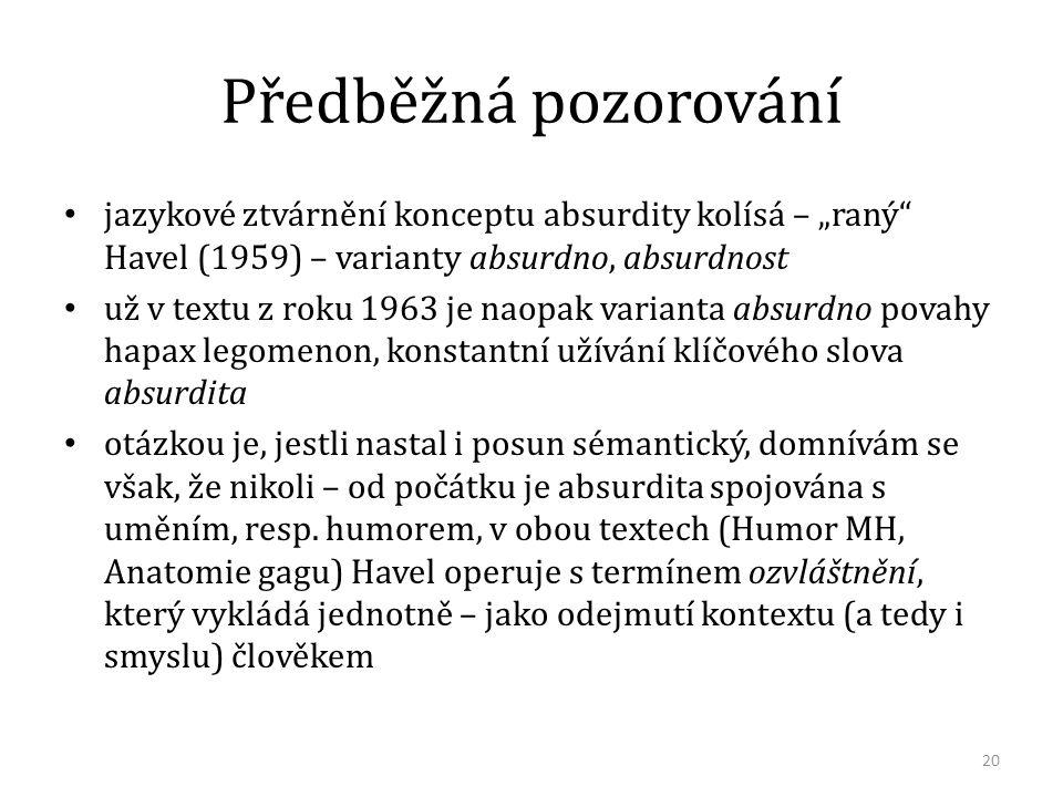 """Předběžná pozorování jazykové ztvárnění konceptu absurdity kolísá – """"raný"""" Havel (1959) – varianty absurdno, absurdnost už v textu z roku 1963 je naop"""