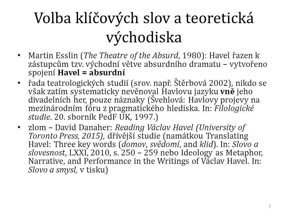 Volba klíčových slov a teoretická východiska Martin Esslin (The Theatre of the Absurd, 1980): Havel řazen k zástupcům tzv. východní větve absurdního d