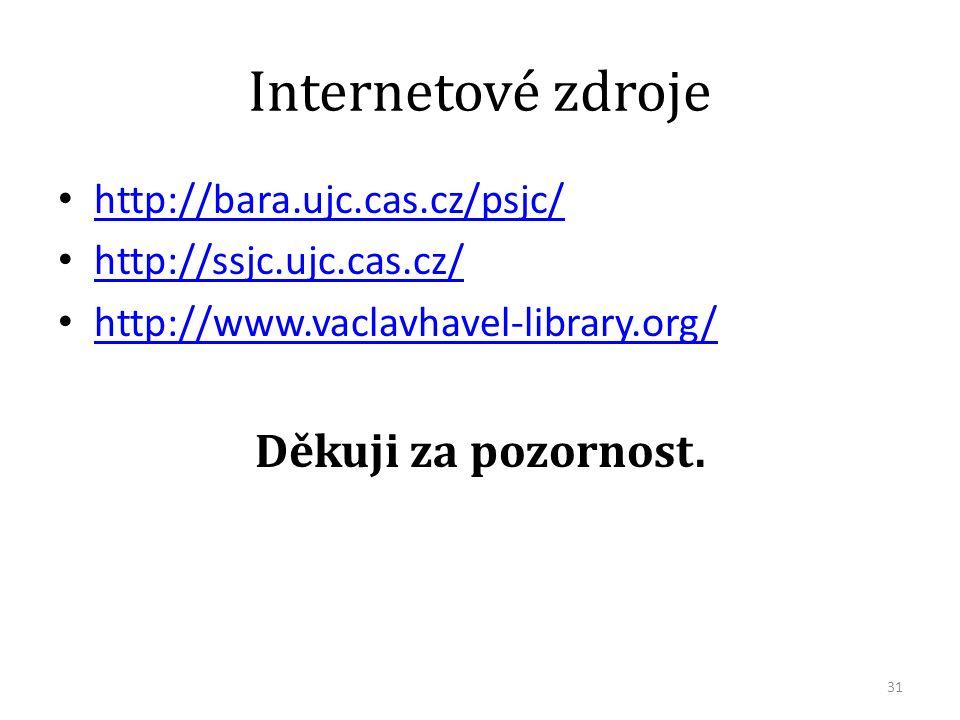 Internetové zdroje http://bara.ujc.cas.cz/psjc/ http://ssjc.ujc.cas.cz/ http://www.vaclavhavel-library.org/ Děkuji za pozornost.