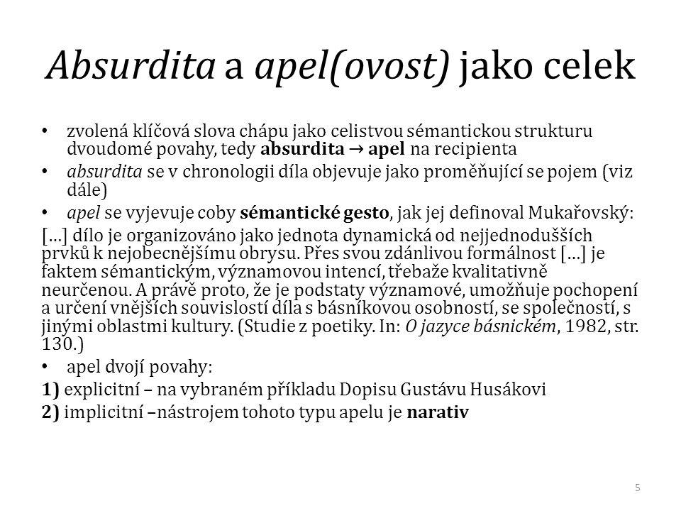 Absurdita a apel(ovost) jako celek zvolená klíčová slova chápu jako celistvou sémantickou strukturu dvoudomé povahy, tedy absurdita → apel na recipien