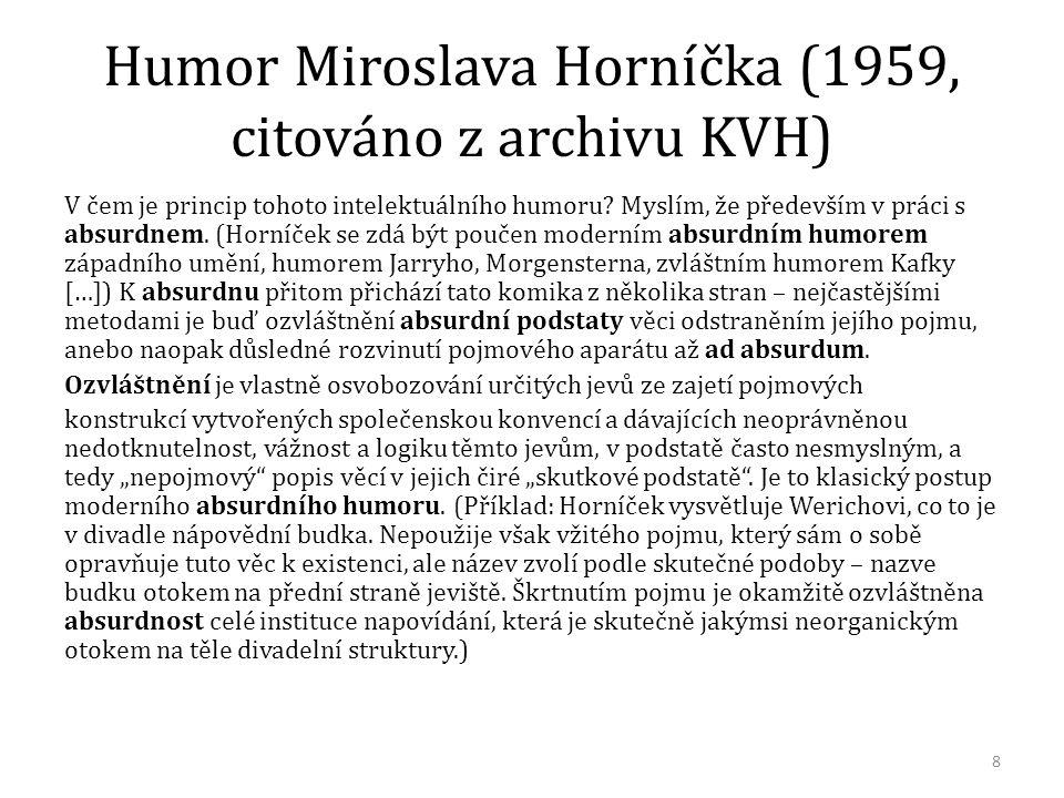 Humor Miroslava Horníčka (1959, citováno z archivu KVH) V čem je princip tohoto intelektuálního humoru? Myslím, že především v práci s absurdnem. (Hor