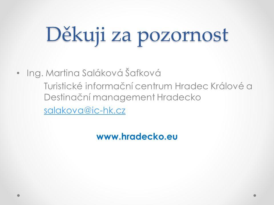 Děkuji za pozornost Ing. Martina Saláková Šafková Turistické informační centrum Hradec Králové a Destinační management Hradecko salakova@ic-hk.cz www.
