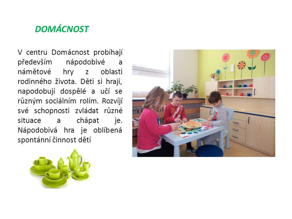 DOMÁCNOST V centru Domácnost probíhají především nápodobivé a námětové hry z oblasti rodinného života.
