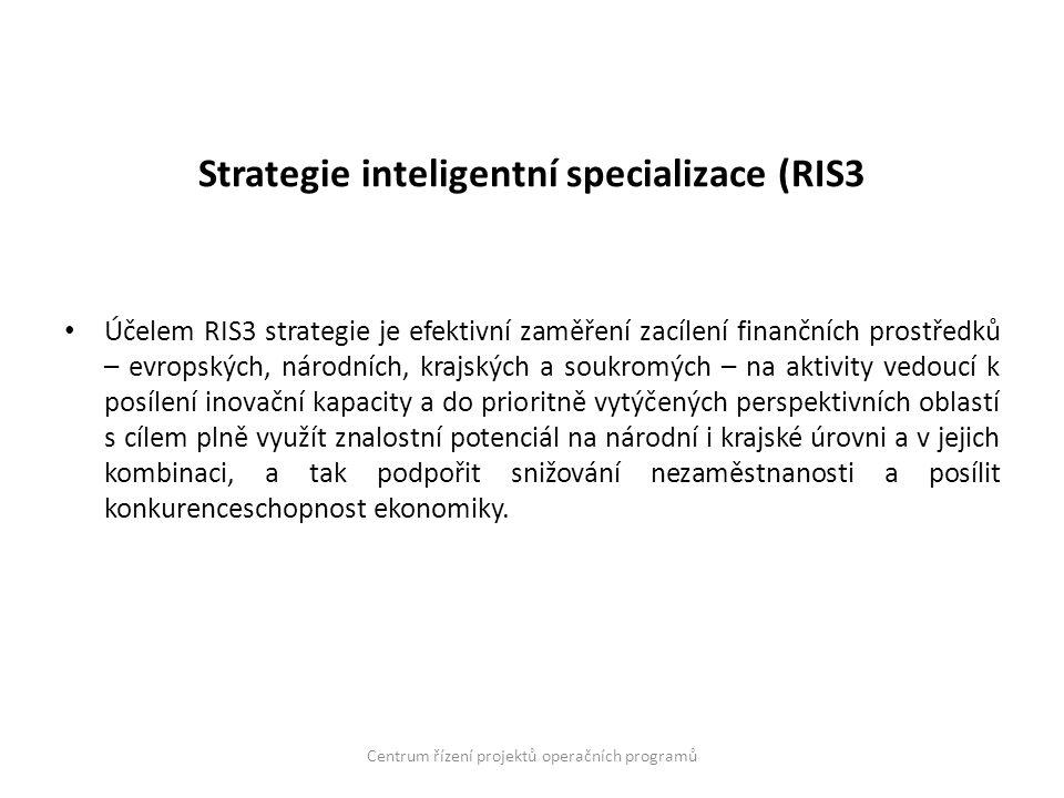 Strategie inteligentní specializace (RIS3 Účelem RIS3 strategie je efektivní zaměření zacílení finančních prostředků – evropských, národních, krajskýc