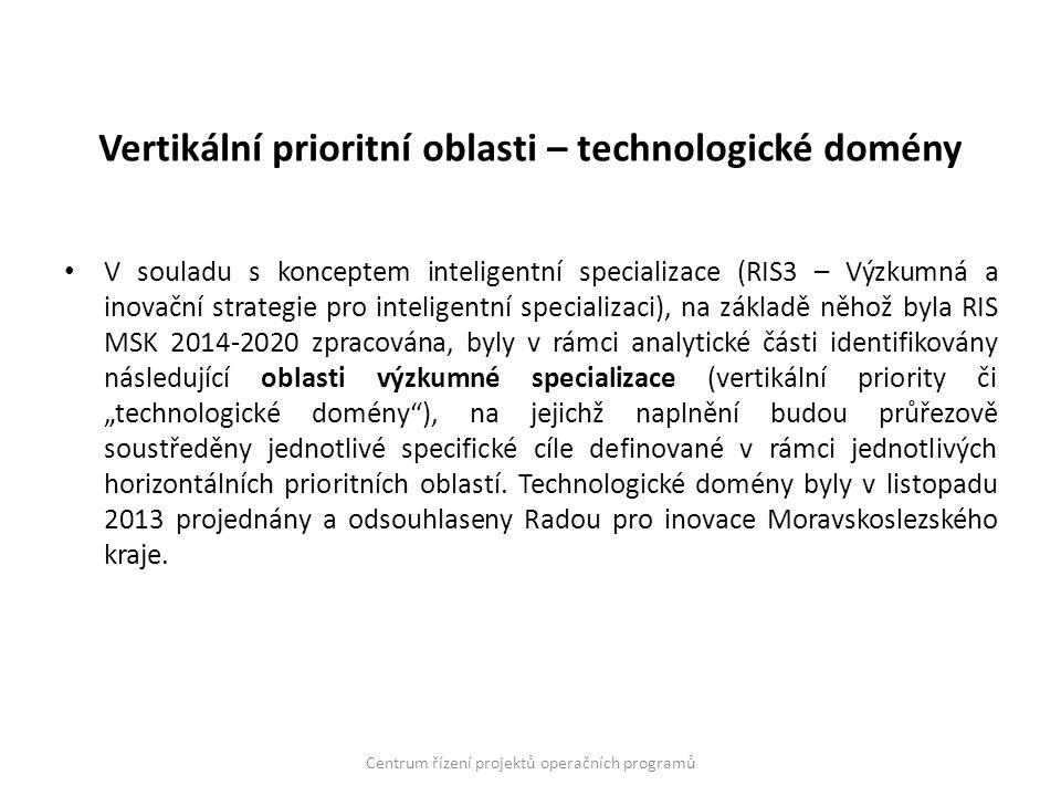"""Vertikální prioritní oblasti – technologické domény V souladu s konceptem inteligentní specializace (RIS3 – Výzkumná a inovační strategie pro inteligentní specializaci), na základě něhož byla RIS MSK 2014-2020 zpracována, byly v rámci analytické části identifikovány následující oblasti výzkumné specializace (vertikální priority či """"technologické domény ), na jejichž naplnění budou průřezově soustředěny jednotlivé specifické cíle definované v rámci jednotlivých horizontálních prioritních oblastí."""