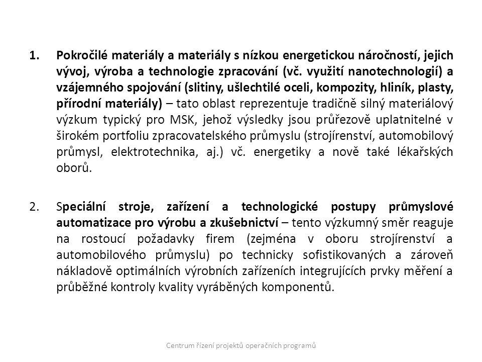 1.Pokročilé materiály a materiály s nízkou energetickou náročností, jejich vývoj, výroba a technologie zpracování (vč.