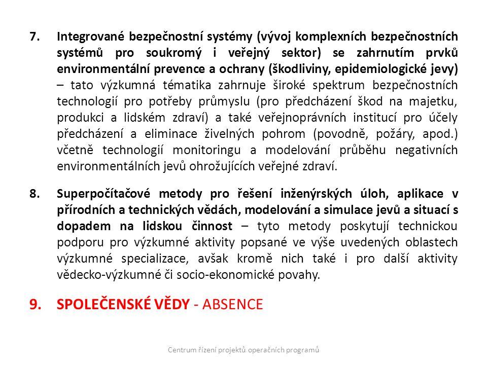 7.Integrované bezpečnostní systémy (vývoj komplexních bezpečnostních systémů pro soukromý i veřejný sektor) se zahrnutím prvků environmentální prevenc