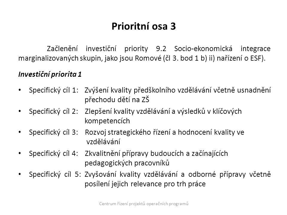 Prioritní osa 3 Začlenění investiční priority 9.2 Socio-ekonomická integrace marginalizovaných skupin, jako jsou Romové (čl 3. bod 1 b) ii) nařízení o
