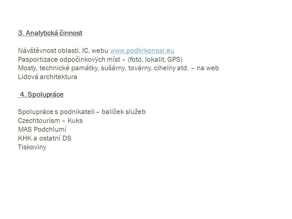3. Analytická činnost Návštěvnost oblasti, IC, webu www.podkrkonosi.euwww.podkrkonosi.eu Pasportizace odpočinkových míst – (foto, lokalit, GPS) Mosty,