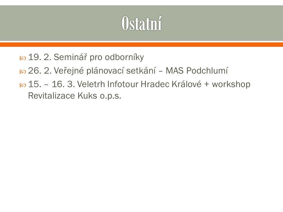  19. 2. Seminář pro odborníky  26. 2. Veřejné plánovací setkání – MAS Podchlumí  15.