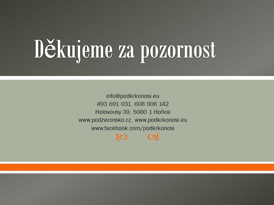  info@podkrkonosi.eu 493 691 031, 608 906 142 Holovousy 39, 5080 1 Hořice www.podzvicinsko.cz, www.podkrkonosi.eu www.facebook.com/podkrkonosi