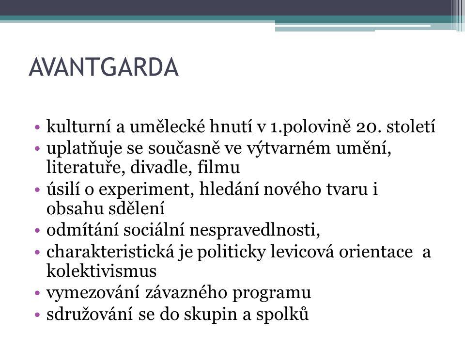 AVANTGARDA kulturní a umělecké hnutí v 1.polovině 20.